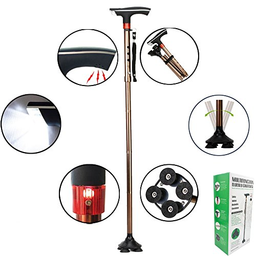Multi-Function Walking Cane for Men Women Elderly – Grandparents' Day Gift for Grandpa Folding Adjustable Cane LED Alarm Light & Sound, Collapsible Lightweight Quad Cane Thanksgiving Christmas Gift