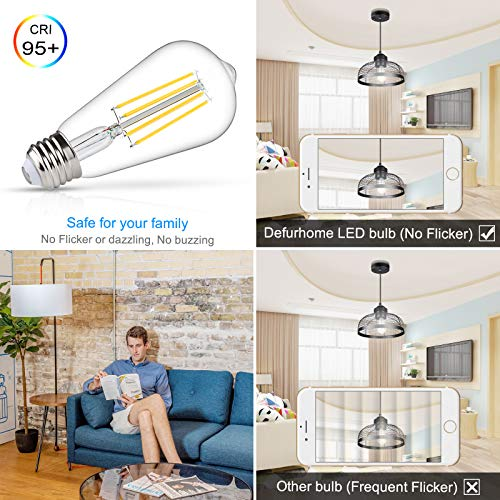 Defurhome Dimmable LED Edison Bulbs 60W Equivalent, Daylight White 4000K, High ≥95+ CRI Eye Protection LED Bulb, ST58 LED Filament Light Bulbs, Antique Style Lighting, E26 Medium Base - Pack of 5