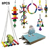 8pcs Parrot Hammock Bell Toys, Packs Bird Swing Chewing Toys-for Parakeets Cockatiels, Macaws, Parrots, Love Birds, Finches