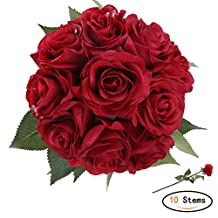 StarLifey 10 Heads Fake Flower Silk Red Roses Bouquets Arrangement for Hotel Party Garden Floral Decor