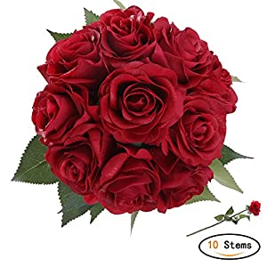 StarLifey Artificial Flowers, Real Touch Pu Flowers Silk Rose Home decorations for Bridal Wedding Bouquet, Valentine's Day Gifts Birthday Flowers Bunch Hotel Party Decor Red 43