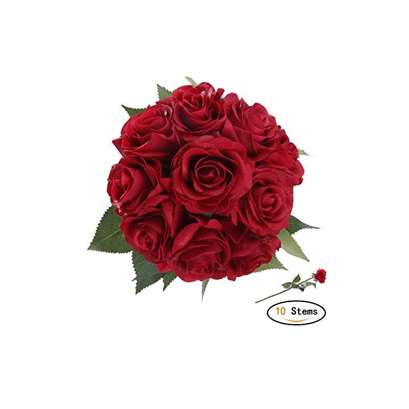 silk flower arrangements starlifey artificial flowers, bride rose flowers for bridal wedding bouquet, birthday flowers bunch hotel party decor red