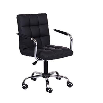 Haluoo Office Chair Rolling Lift Desk Chair with Backrest & Armrest Swivel Work Chair Executive Task Chair Adjustable Height Computer Chair for Gaming Conference Home Office Study Room (Black): Kitchen & Dining