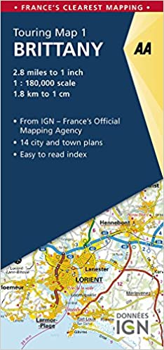 Brittany On Map Of France.Brittany Touring Map Aa Road Map France Aa Publishing