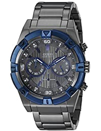 GUESS Men's U0377G5 Grey Chronograph Watch with Iconic Blue Top Ring