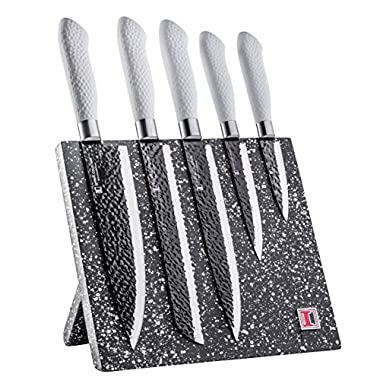 Imperial Collection Stainless Steel Kitchen Cutlery Knife Set with Magnetic Knife Block and Embossed Non-Stick Coating, 6-Piece (White)