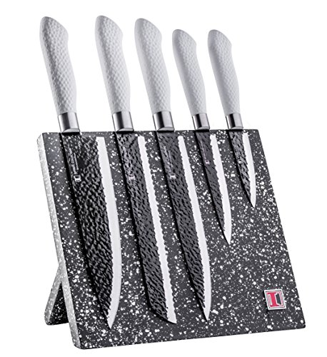 Global Professional Knife Case (Imperial Collection IM-KST9 WHT Stainless Steel Kitchen Cutlery Knife Set with Wooden Permanent Magnetic Knife Block, Ergonomic Soft Grip and Embossed Non-Stick Coating, 6-Piece - White)