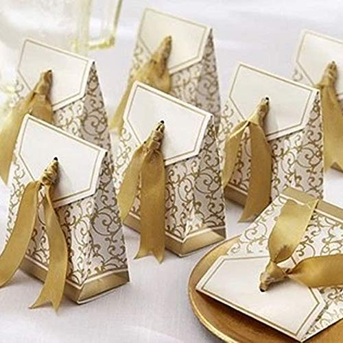 (100 Pack Party Favor Boxes, Gold Decorative Boxes with Ribbons, for Small Party Gift, Chocolate, Wedding Cake)