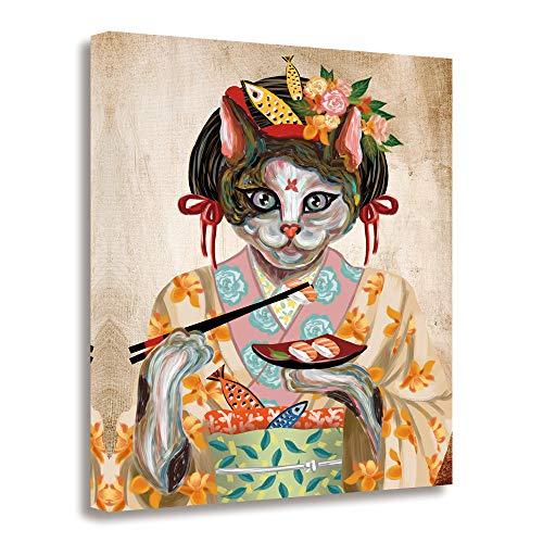 GEVES Cat Kimono Geisha Japanese Wall Art Canvas Paintings 16