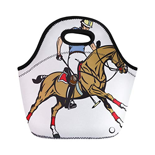 Semtomn Lunch Bags Equestrian Polo Sport Player Riding Pony Horse and Holding Neoprene Lunch Bag Lunchbox Tote Bag Portable Picnic Bag Cooler Bag