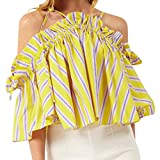 Stripe Printing T-Shirt,Toimoth Ladies Short Sleeveless Tops Blouse Printing T-Shirt(Yellow,S)