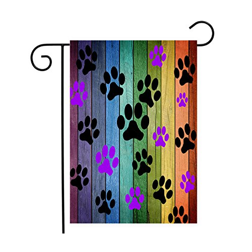 Dog Paw Prints Rustic Old Barn Wood Garden Flags House Decor