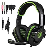 Stereo Gaming Headphone, SADES SA708GT Headset Earphone with Microphone (Blackgreen)