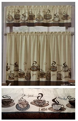 Curtains Ideas coffee curtains for kitchen : Amazon.com: Coffee Beans Java Cups Kitchen Window Curtain: Home ...