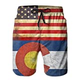 confirm vt Men Vintage USA Colorado Flag Swim Trunk Board Short Beach Shorts