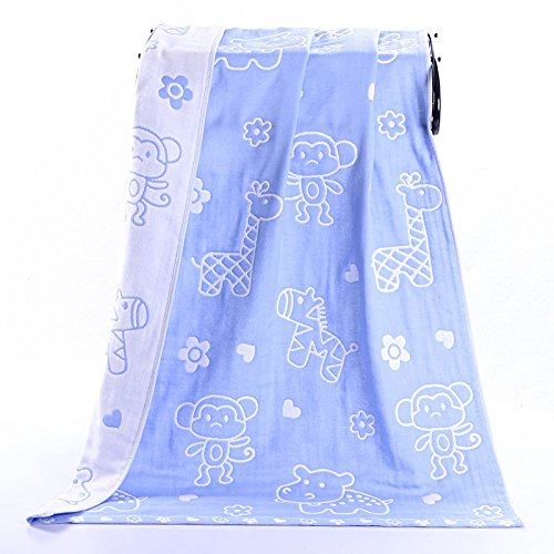 PENG Kids Bath/Beach/Pool Towel Girls Boys Cute Cartoon Animal Full Vitality,100% Cotton(Zoo Blue) (Zoo Blue)