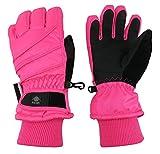 N'Ice Caps Kids Bulky Thinsulate and Waterproof Ski Glove With Ridges (10-12yrs, Neon Pink)