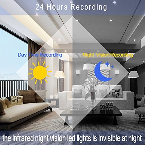 Mini Spy Camera Hidden Camera WiFi 1080P HD Security Monitoring Nanny Cam Night Vision Motion Detection 170 Degree Wide View Angle for Indoor & Outdoor