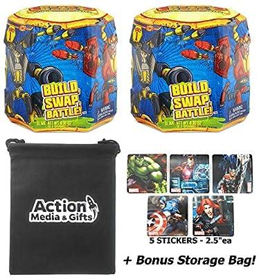 Ready2Robot Gift Bundle - Series 1 Ready to Robot (2 Pack) POP Bot + 5 Avenger Stickers + Bonus Action Media Storage Bag!