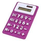 DealMux Silicone Magnetic Fridge Sticker 8 Digits Calculator, Purple/White