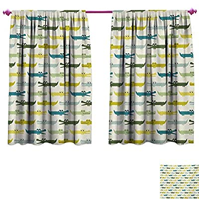 cobeDecor Kids Blackout Draperies for Bedroom Crocodile Characters in Cartoon Style Funny Faces Animal Alligators Childish Blackout Window Curtain Yellow Green Teal