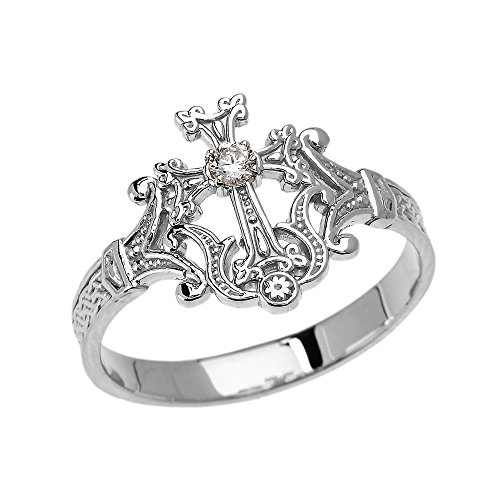 10k White Gold Solitaire Cubic Zirconia Orthodox Cross with Armenian Knot Design Elegant Ring