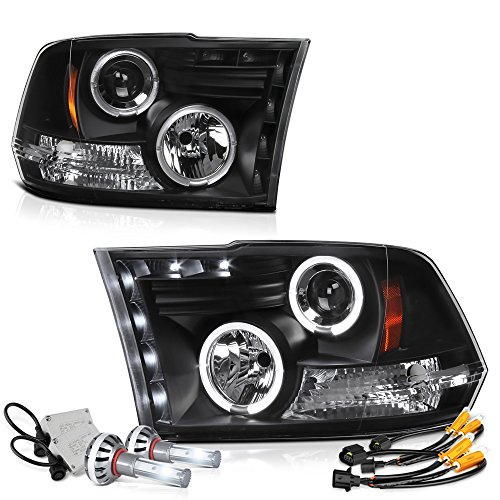 (VIPMOTOZ LED Halo Ring Black Projector Headlight Lamp Assembly For 2009-2018 Dodge RAM 1500 2500 3500 - Built-In CSP LED Low Beam, Driver & Passenger Side)