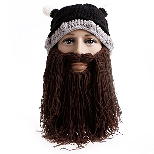 Fashionwu Warm Comfortable Fashion Creative Wool Knit Ox Horn Beard Hat Beanie Hat as Halloween Gifts Christmas Gifts