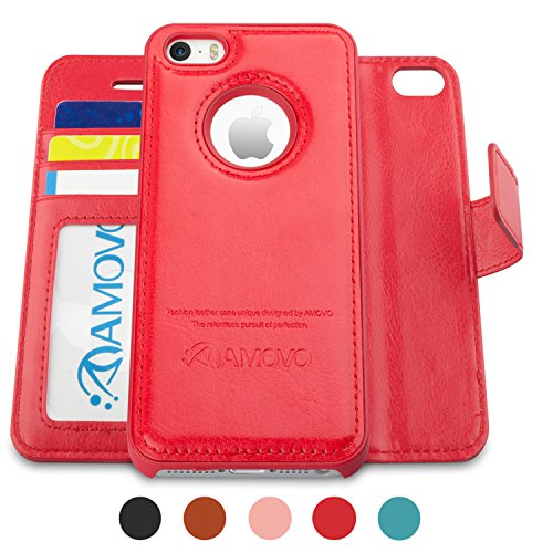 - Amovo Case for iPhone SE [2 in 1], iPhone SE Wallet Case [Detachable Wallet Folio] [Premium Vegan Leather] iPhone SE 5 5S Leather Case with Wrist Strap Gift Box Package (Red)