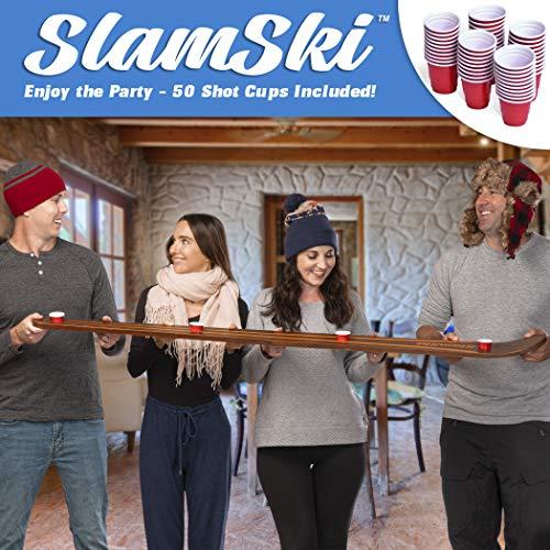 GoPong Slamski   Vintage Wood 4 Person Drinking Ski with 50 Plastic Shot Glasses