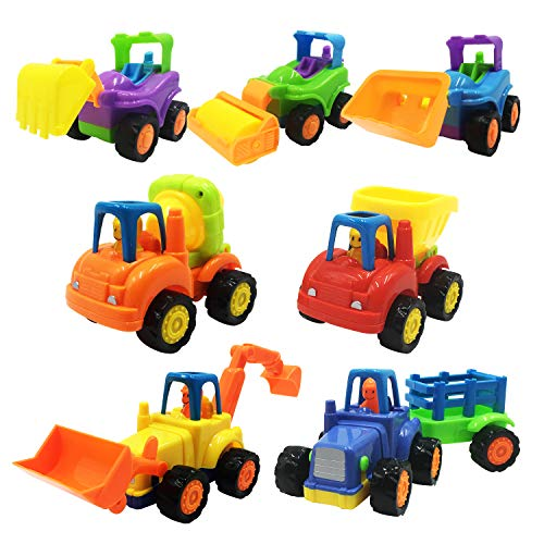 Scientoy Toy Cars, 7 pcs Construction Vehicles, Friction Power Cars Set for Kids, Excavator, Bulldozer,Tractor, Dump Tuck,Cement Mixer Toy Truck, Roller, Best Car Toys for 1 2 3 Year Old