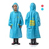 REDCAMP Rain Poncho for Kids 5-12 Years, Reusable 100% Waterproof Chlidren's Raincoat with Sleeves & Backpack Cover, Blue XL