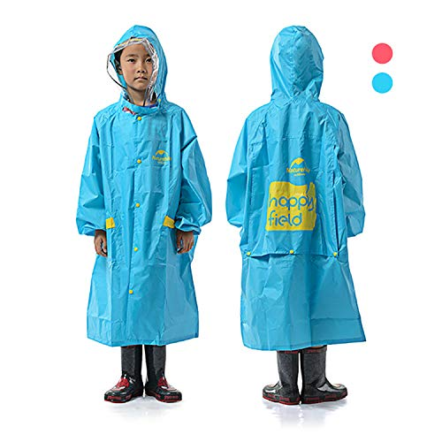 REDCAMP Rain Poncho for Kids 5-12 Years, Reusable 100% Waterproof Chlidren's Raincoat with Sleeves & Backpack Cover, Blue L