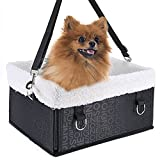 Pet Dog Car Carrier Booster Seat Waterproof Front Seat Collapsable Basket with Fleece Mat for Small Animal Cats (Small, Black)