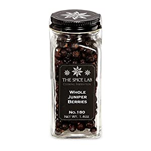 The Spice Lab No. 180 - Whole Juniper Berries - Kosher Gluten-Free Non-GMO All Natural Spice - French Jar
