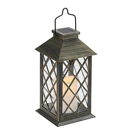 Tomshine LED Solar Lantern Lights Hanging Lamp Outdoor Solar Light Candle Bulb Pathway Mental Waterproof for Patio Courtyard Garden 1Battery