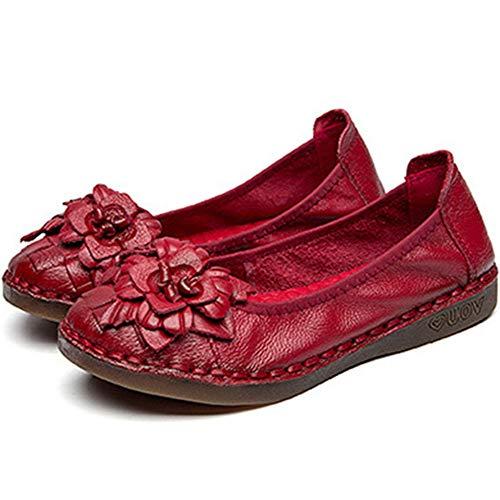 Décontracté Noir Cuir Wealsex Confort Fleur Conduite Chaussure Rouge Ethnique Femme Mocassins Bateau Souple 44AvXx