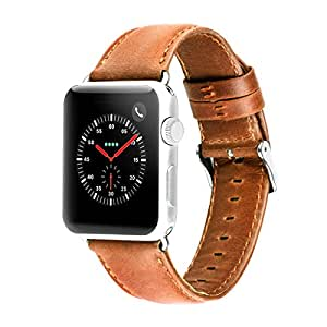 HOCO Apple Watch Band 42mm Series 3 Pinhen Vintage Genuine Leather Strap Wrist Band Replacement Bracelet Classic Buckle with Metal Clasp for Apple Watch Series 3 2 1 iWatch (Yellow Brown, 42MM)