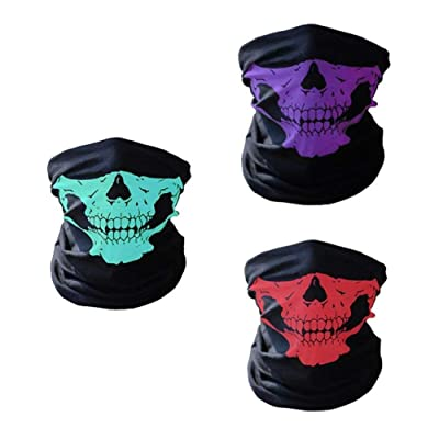 3 Pieces Seamless Skull Face Tube Mask Motorcycle Face Skull Mask Ski Skull Party Sport Halloween Mask for Bike Motor Cycling (Red-Purple-Green): Automotive