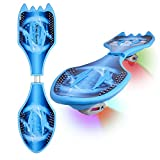 Deluxe Junior Caster Board in Amazing Blue Color, with Illuminating Wheels for More Excitement, Fun and Visibility, Durable Xino Sports Twistboard, 60-Day!