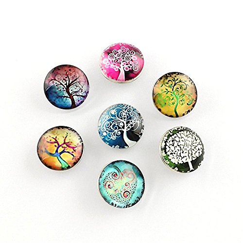- PandaHall Elite 1 Box About 12pcs Flat Round with Tree Pattern Glass Cabochons Snap Buttons for Jewelry Making with Knob Size 5-5.5mm