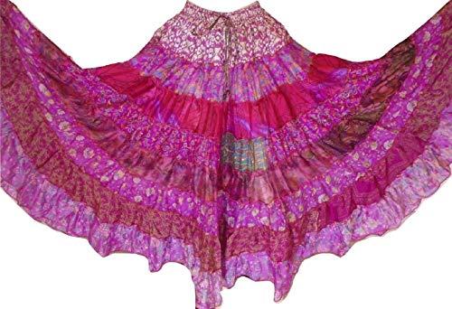 Bangara Folk 9 Yard Tribal Gypsy Maxi Tiered Skirt Belly Dancing Skirts Silk Blend M L (J96)