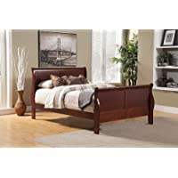 Alpine Furniture 2700Q Louis Philippe II Queen Sleigh Bed in Cherry,