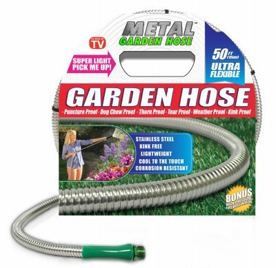 HARVEST TRADING GROUP Metal Garden Hose (50′), the Original 304 Stainless Steel Hose