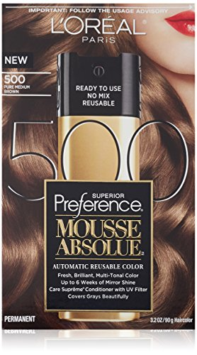 L'Oréal Paris Couleur des cheveux Superior Preference Mousse Absolue, 500 Pure Medium Brown