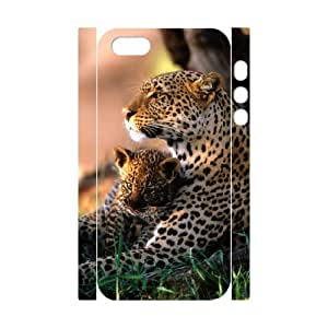 3D IPhone 5,5S Cases, African Leopard Family Elegant Design Cases for IPhone 5,5S {White}