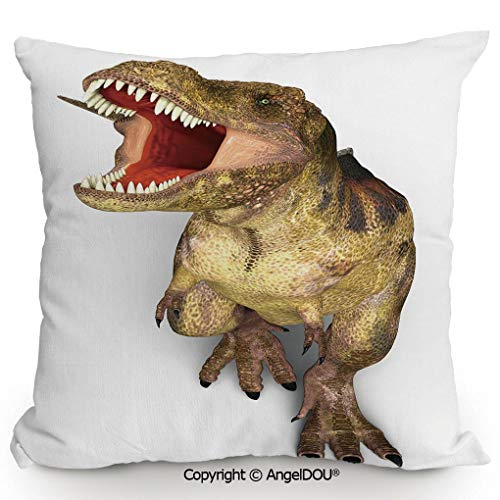 - AngelDOU Fashion Sofa Cotton Linen Throw Pillow Cushion,Image of Roaring Rex Realistic Historical Animal with Sharp Teeth Decorative,Bed Office car Pillow Customized Accept.17.7x17.7 inches