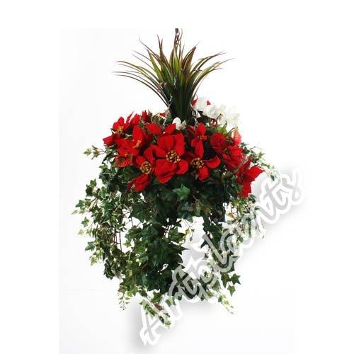 Closer To Nature 14 Zoll Elite Outdoor Range Künstliche Blumenampel mit rotem Weihnachtsstern und weißen Alpenveilchen und Yucca