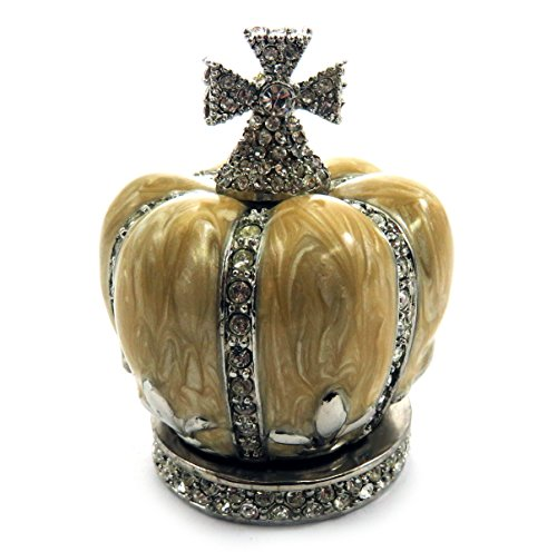 - Silver tone and tan enamel crown shaped jewelry holder JHS2