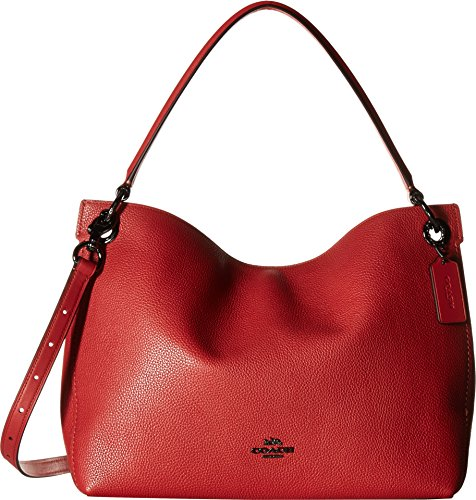 COACH Women's Polished Pebble Leather Clarkson Hobo Dk/Washed Red One Size (Washed Leather Hobo)